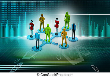 3d persons in social network. 3d image.