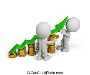 3d, persoon, -, financieel succes