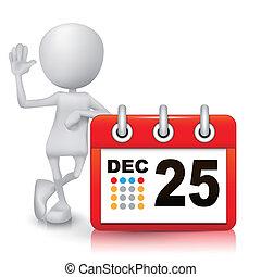 3d, persoon, met, een, kalender
