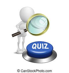 3d, persoon, schouwend, de, quiz, knoop, met, een, vergrootglas