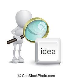 3d, persoon, schouwend, een, idee, knoop, met, een, vergrootglas