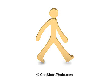 3d, persoon, wandelende