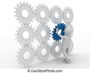 3d, pessoa, é, pôr, a, especiais, parte, um, motor, de, cogs