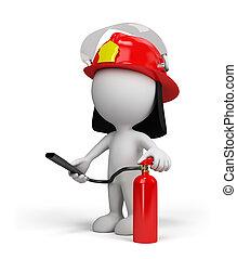 3d, pessoa, –, bombeiro