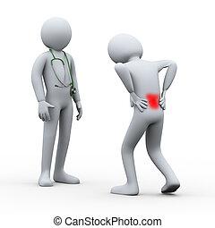 3d, pessoa, com, dor traseira, visitando, doutor
