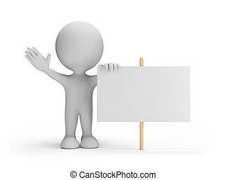 3d, pessoa, com, um, billboard