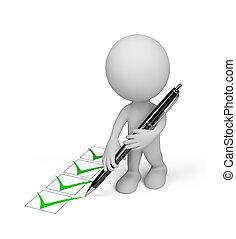 3d, pessoa, com, um, caneta
