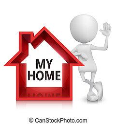 3d, pessoa, com, um, casa, símbolo