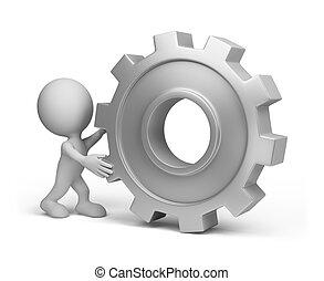 3d, pessoa, com, um, roda engrenagem