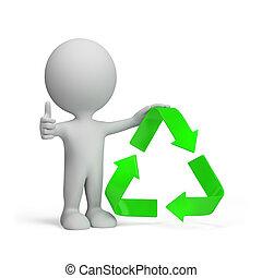 3d, pessoa, com, um, símbolo reciclando