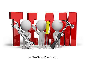 3d, pessoa, equipe, de, repairmen