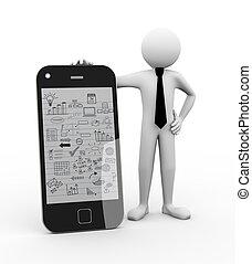 3d, pessoa negócio, com, negócio móvel, desenho