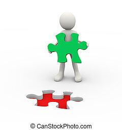 3d, pessoa, segurando, quebra-cabeça, solução, pedaço