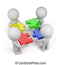 3d, pessoa, -, trabalho equipe, com, quebra-cabeças