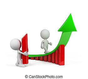 3d, pessoa, -, um, tendência, crescimento
