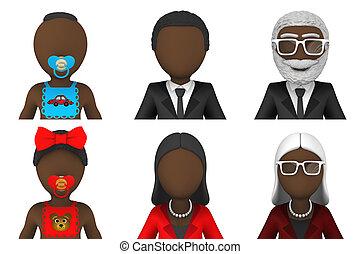 3d, pessoas, avatar, africano