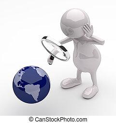 3d, pessoas, com, lupa, e, globo terra