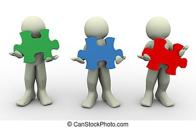 3d, pessoas, com, quebra-cabeça, peaces