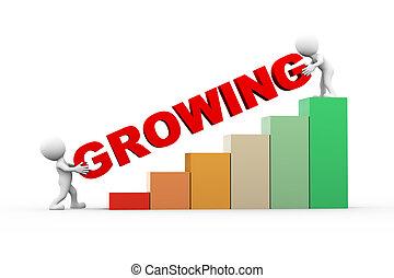 3d, pessoas, com, texto, crescendo