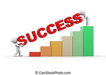3d, pessoas, com, texto, sucesso