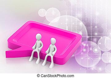 3d, pessoas, comunicação, junto