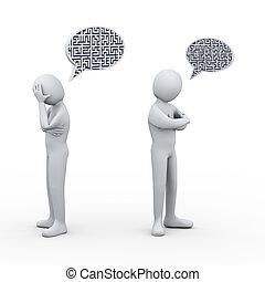 3d, pessoas, conflito, bolha, fala, labirinto, labirinto