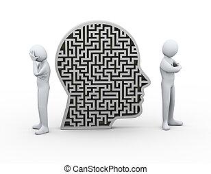 3d, pessoas, disputa, conflito, labirinto, cabeça humana