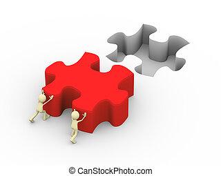 3d, pessoas, empurrar, grande, quebra-cabeça, solu