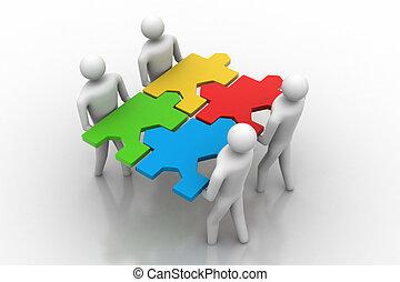 3d, pessoas, -, equipe, com, a, quebra-cabeças, i