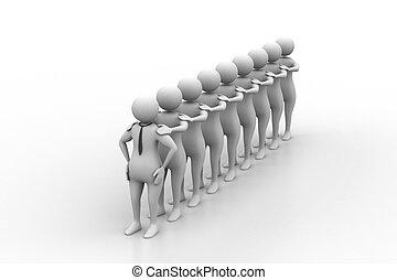 3d, pessoas, fila