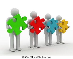 3d, pessoas, -, human, personagem, com, puzzle.