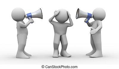 3d, pessoas, megafone, anúncio