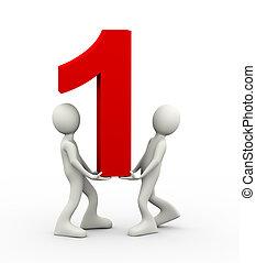 3d, pessoas, número, segurando, um
