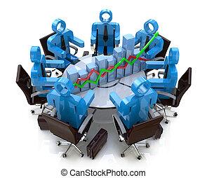 3d, pessoas negócio, em, um, reunião, em, um, tabela redonda, e, mapa financeiro, -, diagrama