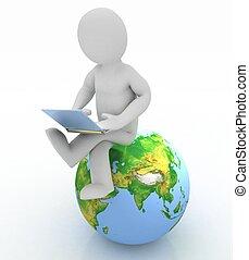 3d, pessoas, -, pessoa, com, um, laptop, e, globe., 3d, render
