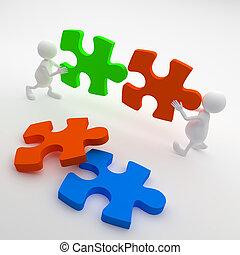 3d, pessoas, segurando, quebra-cabeça