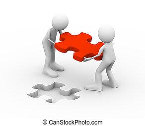3d, pessoas, segurando, vermelho, quebra-cabeça, solução, pedaço