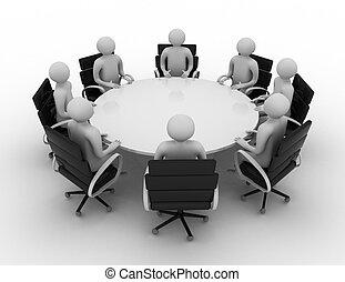 3d, pessoas, -, sessão, atrás de, um, redondo, tabela., 3d, image., isolado