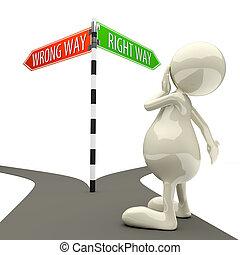 3d, pessoas, sinal estrada, maneira errada, jeito certo