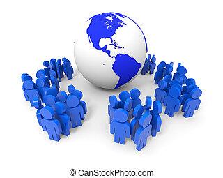 3d, pessoas., social, rede, concept.