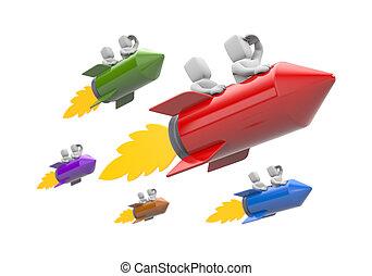 3d, pessoas, voando, ligado, a, foguete
