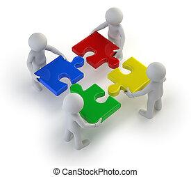 3d, petit, gens, -, équipe, à, les, puzzles, dans, mains