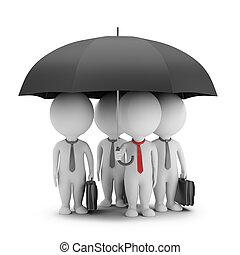 3d, petit, gens, -, directeur, à, une, parapluie, et, sien, équipe