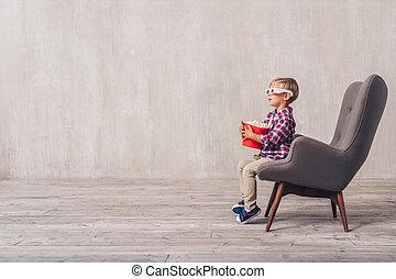 3d, peu, lunettes, chaise, enfant