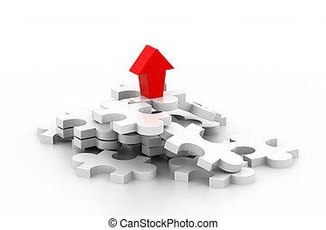 3d, pfeil, mit, puzzlesteine