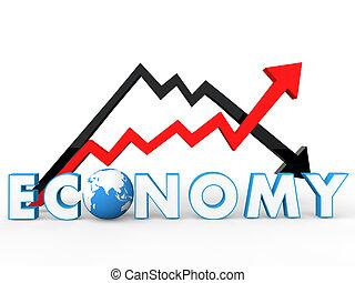 3d, pfeile, globale wirtschaft, begriff