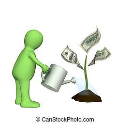 3d, pflanze, bewässerung, monetär, marionette