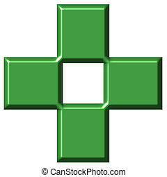 3D Pharmacy Cross - 3d pharmacy cross isolated in white