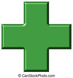 3D Pharmacy Cross - 3d pharmacy cross isolated in white