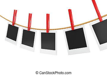 3d photo frames hanging on the clothesline.